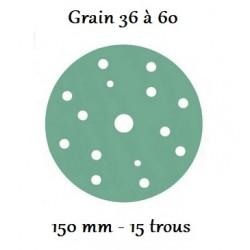Disque abrasif vert 150 mm avec 15 trous (du grain 36 à 60)