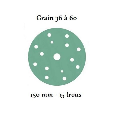 Disque abrasif Velcro 150 mm avec 15 trous