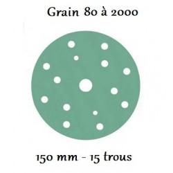 Disque abrasif vert 150 mm avec 15 trous (du grain 80 à 2000)