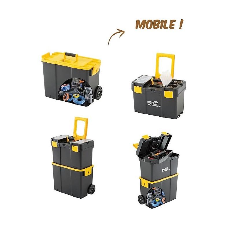 caisse outils modulable transportable sur deux roues. Black Bedroom Furniture Sets. Home Design Ideas
